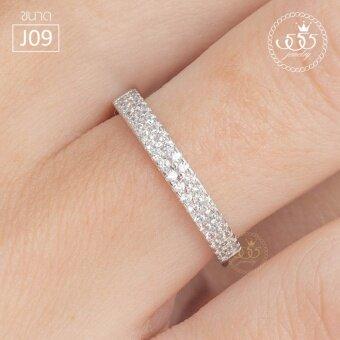 555jewelry แหวนเงินแท้ Silver 925 ดีไซน์แหวนแถวฝังเตย เพชรสวิส 2แถว รุ่น MD-SLR025 (SLR-B1) ขนาด J09