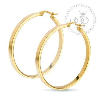 555jewelry Stainless Steel 316L ต่างหู รุ่น MNC-ER443-B (Yellow Gold)