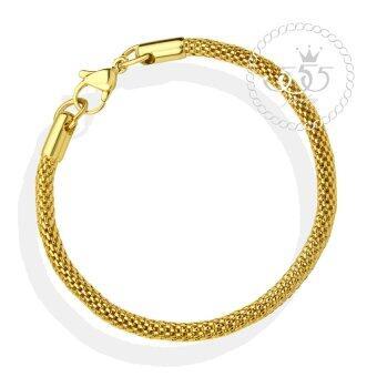 555jewelry สร้อยข้อมือลาย Tube mesh chain สี ทอง รุ่น MNC-BR394-B - สร้อยข้อมือดีไซน์เรียบ สแตนเลสสตีล (BR47)