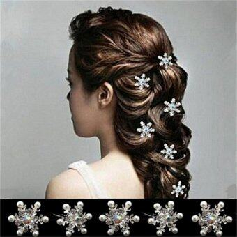 5Pcs Elegant Wedding Bridal Crystal Rhinestone Pearl Flower HairPin Clips - intl