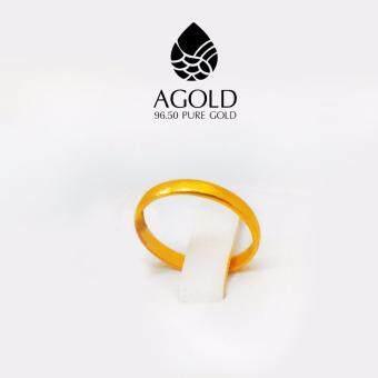 AGOLD ST05 แหวนเกลี้ยง ทองคำแท้ 96.5% 0.8 กรัมฟรีกล่องเครื่องประดับ