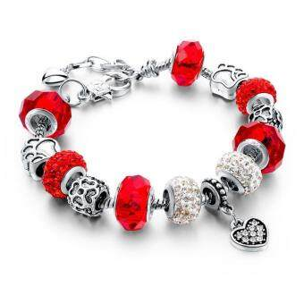 Ai Home Women Girl Crystal Glass Beads Chain Bangle Bracelet S(Red) - intl