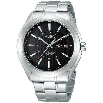 ALBA นาฬิกาข้อมือผู้ชาย สีดำ/เงิน สายแสตนเลส รุ่น AV3075X1