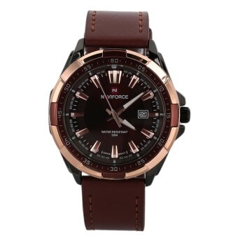 Allwin Masculino Leather Strap Watch Men's Quartz WristwatchesNAVIFORCE NF9056 Rose Gold Case & Brown Band