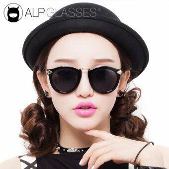 ALP Sunglasses แว่นกันแดด Vintage Oval Style รุ่น ALP-0026-BKS-BK-GD (Black/Black)