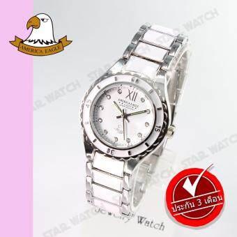 AMERICA EAGLE นาฬิกาข้อมือผู้หญิง สายสแตนเลส รุ่น AE036L - Silver/White