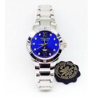 America Eagle นาฬิกาข้อมือผู้หญิง สายสแตนเลส รุ่น Lucky6211L หน้าปัดสีน้ำเงิน