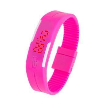 Ampko LED Watch Colorful นาฬิกา แอลอีดี สีชมพูเข้ม สายซิลิโคน 22