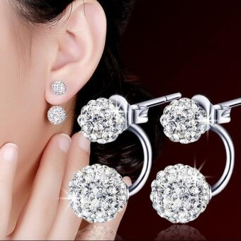 Bling Bling Double Diamond Balls Ear Studs Anti-allergy SilverPlated Push-back Earrings for Women - intl