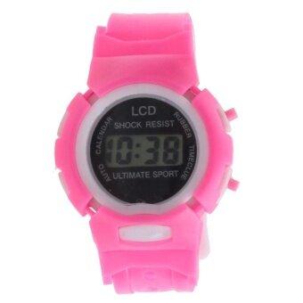 Boys Girls Students Time Electronic Digital LCD Wrist Sport Watch Pink - intl