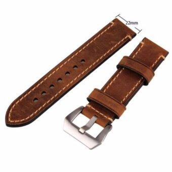 Brown 22mm Genuine Leather Wristwatch Watch Band Watchband Stainless Buckle - intl
