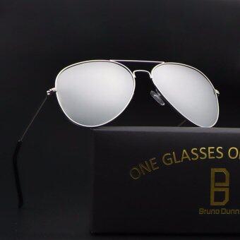 9b271058ab2 bruno dunn ผู้หญิงผู้ชาย Polarized แว่นตากันแดดนักบิน 3025 sunglasses  (silver frame silver mirror lense