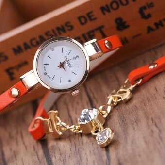 Bubblekiss Hot Sale Ladies Faux Leather Rhinestone Analog Quartz Dress Wrist Watches Orange - intl