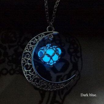BUYINCOINS Crescent Moon Heart Glow in the Dark Necklace Charming Jewelry Luminous Chain Dark Blue - intl