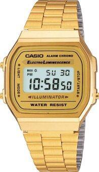 Casio นาฬิกาข้อมือผู้หญิง สายสแตนเลส รุ่น A168WG-9W - Gold