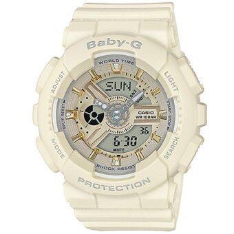 Casio Baby-G นาฬิกาข้อมือผู้หญิง สายเรซิ่น รุ่น BA-110GA-7A2 - สีครีม