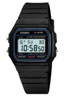 CASIO นาฬิกาข้อมือสายยาง รุ่นยอดนิยม ขอบสีน้ำเงิน ผู้ชายหรือผู้หญิง Digital F-91W-1DG