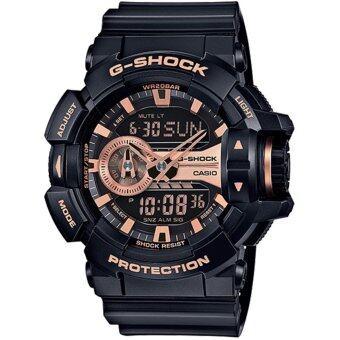 ราคา CASIO G-SHOCK รุ่น GA-400GB-1A4DR (CMG) นาฬิกาข้อมือ สายเรซิ่น สีดำ โรสโกลด์