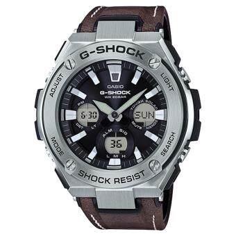 CASIO G-SHOCK รุ่น GST-S130L-1ADR (CMG) นาฬิกาข้อมือ สายหนัง สีเงิน น้ำตาล G-steel