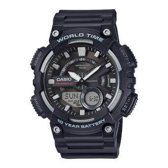 Casio General Men's Watch Black Resin Band AEQ-110W-1A 100m World Time Digital/ Analog Sports Watch - intl