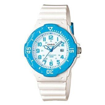 Casio นาฬิกาข้อมือ สายเรซิ่น สีขาว/ฟ้า รุ่น LRW-200H-2BVDF