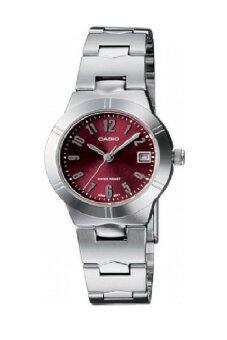 Casio นาฬิกาข้อมือผู้หญิง สายสแตนเลส รุ่น LTP-1241D-4A2 - Silver/Red