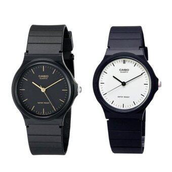 Casio นาฬิกาข้อมือผู้ชาย สีดำ สายเรซิ่น รุ่น MQ-24-1E และ MQ-24-7E แพ็คคู่