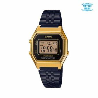 นาฬิกาคาสิโอ Casio Standard Digital Vintage Black-Gold LA680WEGB-1A