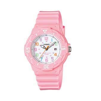 Casio Standard นาฬิกาข้อมือผู้หญิง สีชมพู/ขาว สายเรซิ่น รุ่น LRW-200H-4B2VDF
