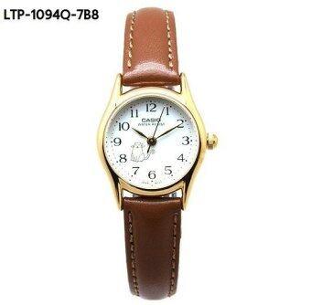 Casio Standard นาฬิกาข้อมือผู้หญิง สีทอง/หน้าปัดขาว สายหนังหน้าการ์ตูน รุ่น LTP-1094Q-7B6RDF