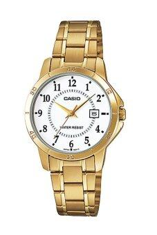 Casio Standard นาฬิกาข้อมือสุภาพสตรี สายสแตนเลส รุ่น LTP-V004G-7BUDF - เรือนทอง/หน้าขาว