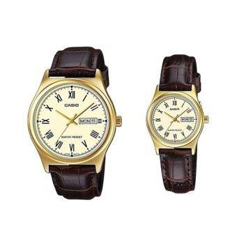 Casio Standard นาฬิกาข้อมือ สายหนัง เซตคู่ (ชาย-หญิง) รุ่น MTP-V006GL-9B LTP-V006GL-9B