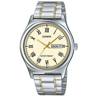 Casio Standard นาฬิกาข้อมือผู้ชาย สีเงิน/ทอง สายสแตนเลส รุ่น MTP-V006SG-9BUDF