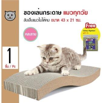 Cat Toy ของเล่นข่วนเล็บ ที่ลับเล็บแมว ที่นอนแมว สำหรับแมวทุกวัย ขนาด 43 x 21 ซม. ฟรี! Catnip กัญชาแมว 1 ซอง