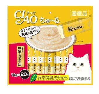 CIAO CHURU Tuna scallop Mix (14g x 20pcs) ขนมแมวเลีย ชาว ชูรู รสทูน่าผสมหอยเซลล์ บรรจุ 20 ซอง/แพ็ค