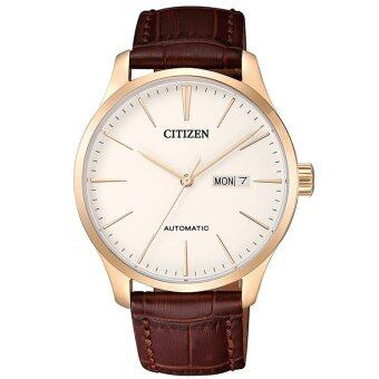 CITIZEN Men's Automatic Leather Strap Day-Date Watch รุ่น NH8353-18A - PinkGold/Cream สายหนังBrown