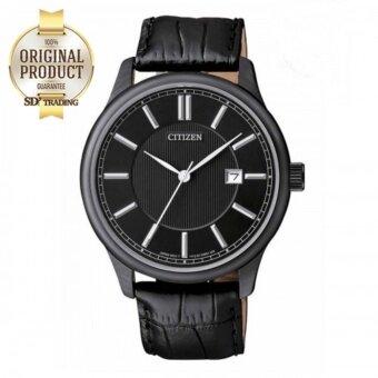 CITIZEN Quartz Leather Strap Men's Watch รุ่น BI1055-01E - BlackPVD/สายหนังแท้ Black