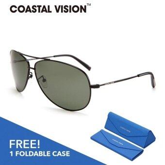 COASTAL VISION แว่นกันแดดโพลาไรซ์สำหรับชายและหญิง กรอบทรงนักบินสีดำ เลนส์ป้องกันรังสี UVA/B CVS5115