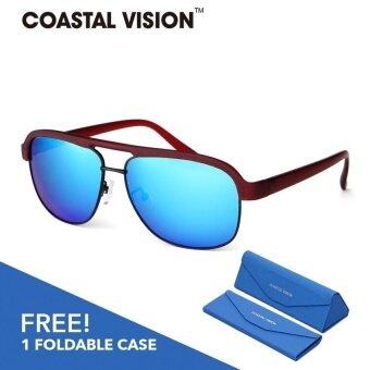 COASTAL VISION แว่นกันแดดโพลาไรซ์สำหรับผู้หญิง กรอบทรงนักบินสีแดงเลนส์ป้องกันรังสี UVA/B CVS5812