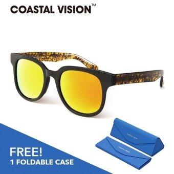 COASTAL VISION แว่นกันแดดโพลาไรซ์สำหรับผู้หญิงกรอบทรงสี่เหลี่ยมจัตุรัสสีดำ เลนส์สีส้มป้องกันรังสี UVA/B CVS5820
