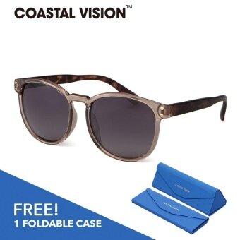 COASTAL VISION แว่นกันแดดโพลาไรซ์สำหรับผู้หญิง กรอบทรงสี่เหลี่ยมจัตุรัสสีเทา เลนส์ป้องกันรังสี UVA/B CVS5829