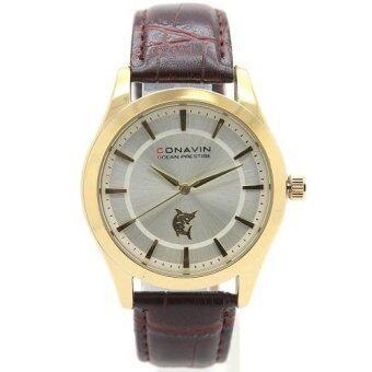 2561 CONAVIN นาฬิกาข้อมือผู้ชาย เรือนทอง สายหนังแท้ ระบบ Quartz หน้าปัดคลาสสิค รุ่น CON-1131TG