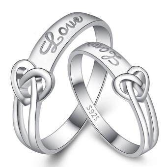 Couple Rings Jewellry 925 Silver Adjustable Lovers Ring Jewelry E010 - intl