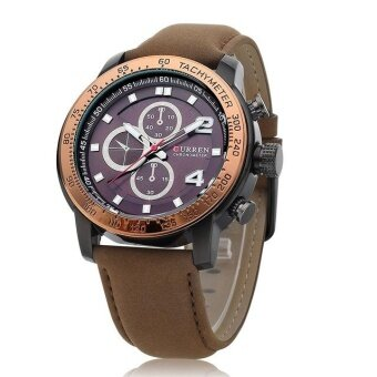Curren 8190 The New Men's Sports Casual Quartz Watches Men Gifts Leather Strap Wristwatch Gold Brown - intl