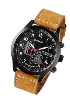Curren นาฬิกาข้อมือสุภาพบุรุษ สายหนังสีน้ำตาล หน้าปัดสีดำ รุ่น C8152 (image 2)