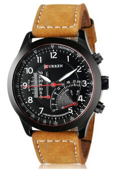 Curren นาฬิกาข้อมือสุภาพบุรุษ สายหนังสีน้ำตาล หน้าปัดสีดำ รุ่น C8152 (image 0)
