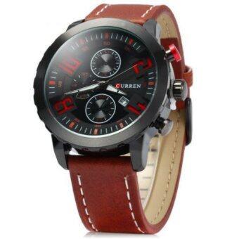 ซื้อ/ขาย Curren นาฬิกาข้อมือสุภาพบุรุษ สายหนังสีน้ำตาล/แดง หน้าปัดสีดำ รุ่น C8193