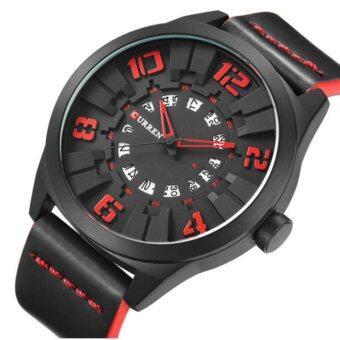 ประเทศไทย Curren นาฬิกาข้อมือผู้ชาย สายหนังสีดำ หน้าปัดสีดำ/แดง รุ่น C8258