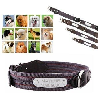 Custom Personalized Pet Dogs Cats CollarsFreely Engraving ID Plate\nTag With Any Pet Name Contact Phone NumbersWith Metal Buckle\nAdjustable Collar Charms Necklace for pets-BrownXL - intl