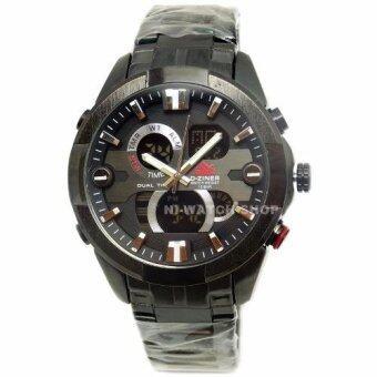 ราคา D-ZINER นาฬิกาข้อมือชาย 2 ระบบ วงแหวนสีเงิน เรือนดำ สายเหล็ก (สีดำ)